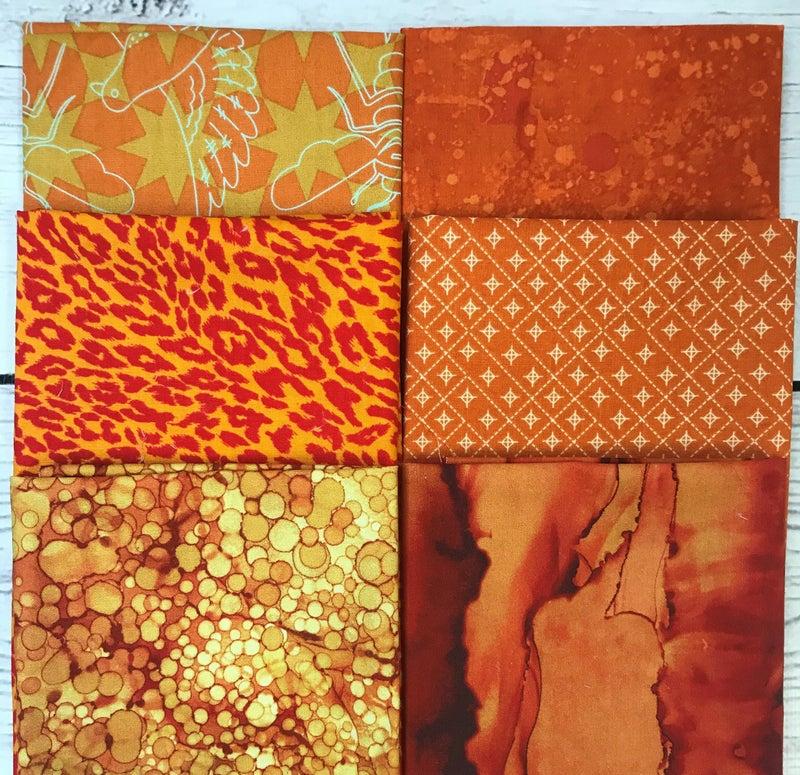 Fat Quarter Bundle (6) Orange x 3