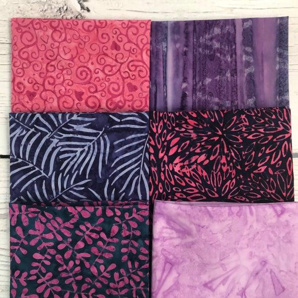 FQ Bundle (6) Pink and Purple Batik