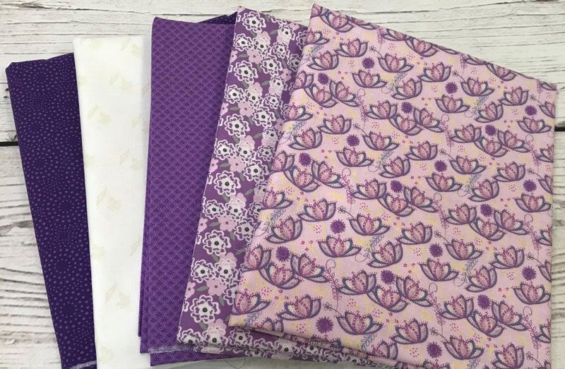 Bundle C - Purple Floral - (5) One yard cuts