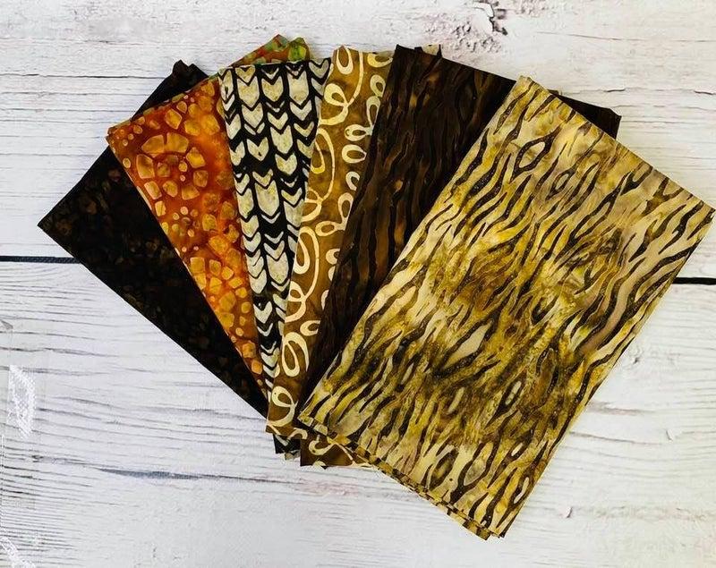 Batik Bundle Six Half-Yard Cuts Serengeti Travels