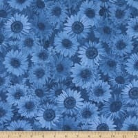 "Wideback 108"" Sunflower Whispers One Yard Denim"