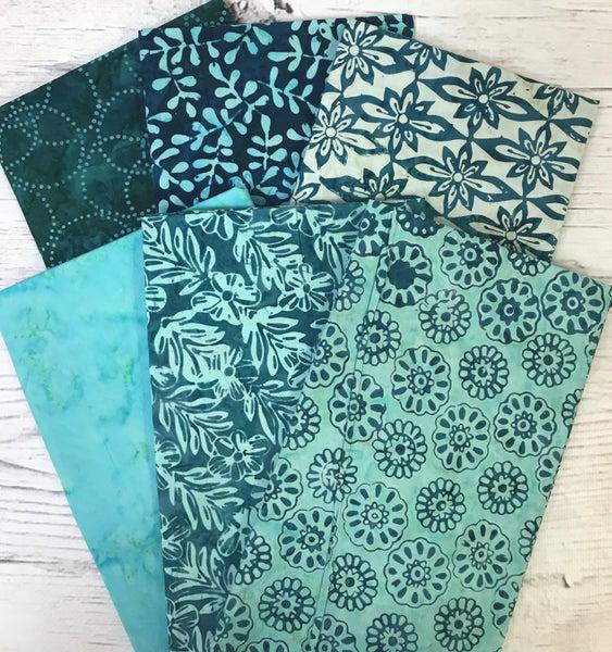 Six Half Yard Cuts - Batik Shades of Teal