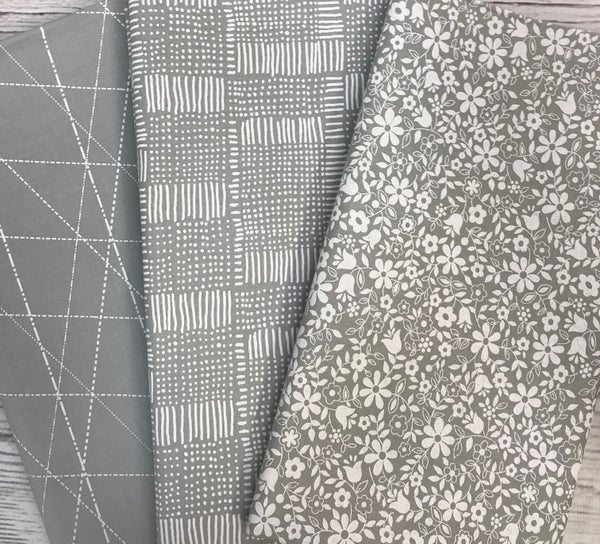 One Yard Cuts (3) - Moda Whispers Line - Zen Grey Floral