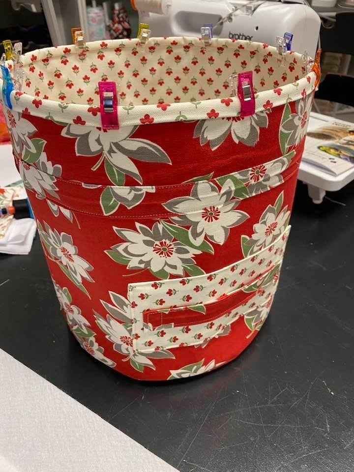 Red/Cream Bucket Brigade Canvas Kit (Makes all 4)  NEED PATTERN