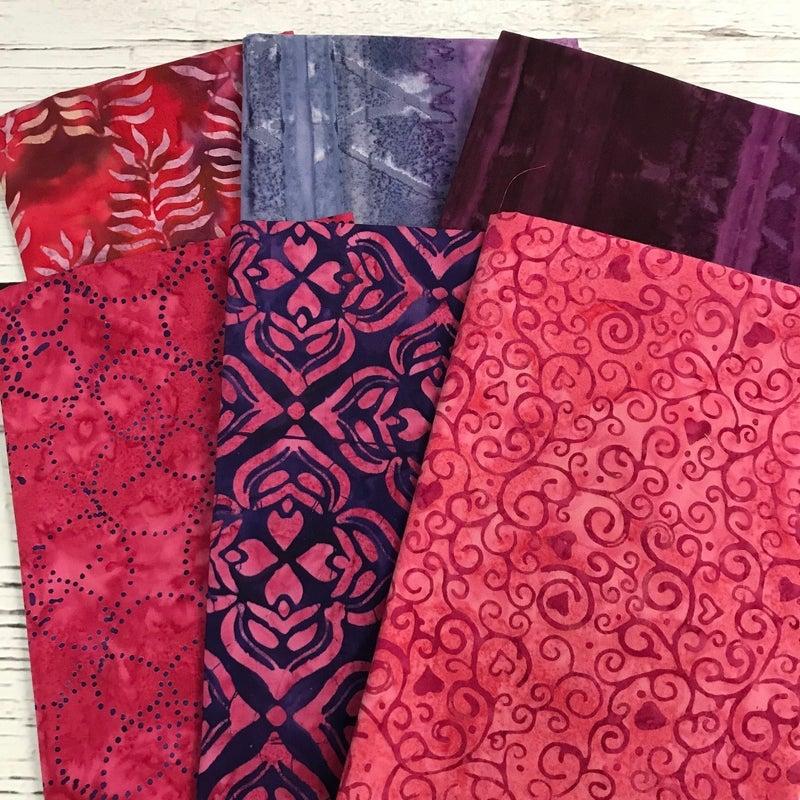 FQ Bundle (6) Batik Purple and Pink
