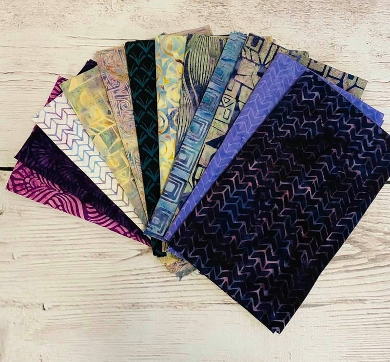 Fat Quarter Bundle (12) Batik Multi (Island Batik)