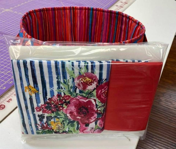 Kit:  One Hour Basket Blue Stripe Flower