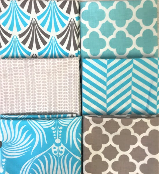 Fat Quarter Bundle (6) Aqua Art Deco
