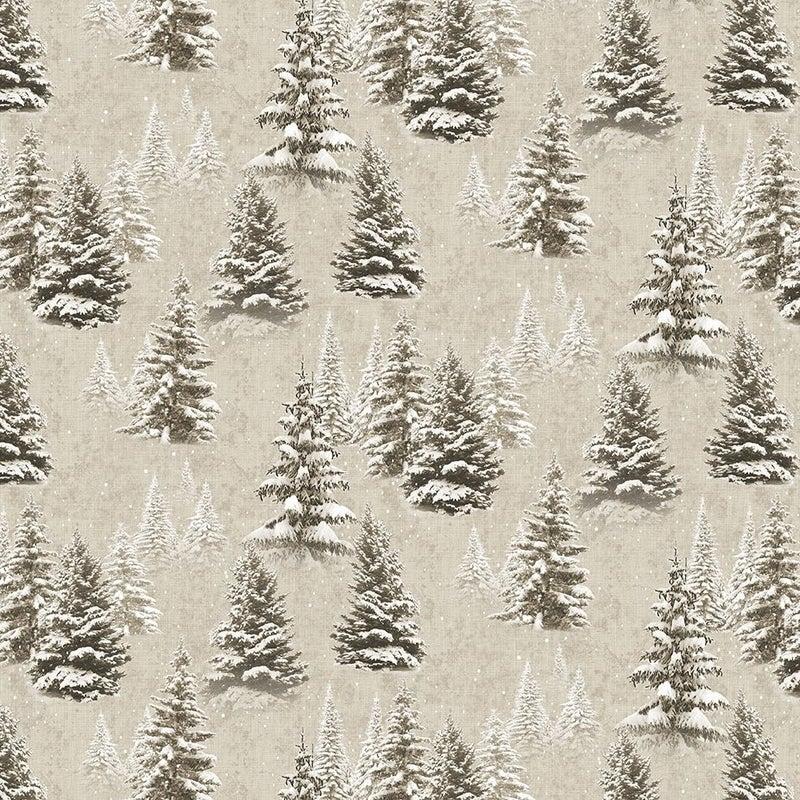 QMN 2021 Digital Snow Trees Khaki 1/2 Yard Increment