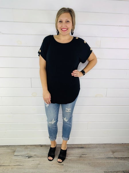 PLUS/REG Doorbuster Flowy Tee with Buttons-- 3 Colors!