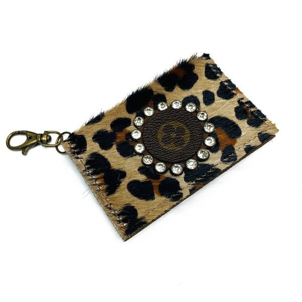 Authentic Upcycled LV Leopard Credit Card Case With Clear Rhinestones