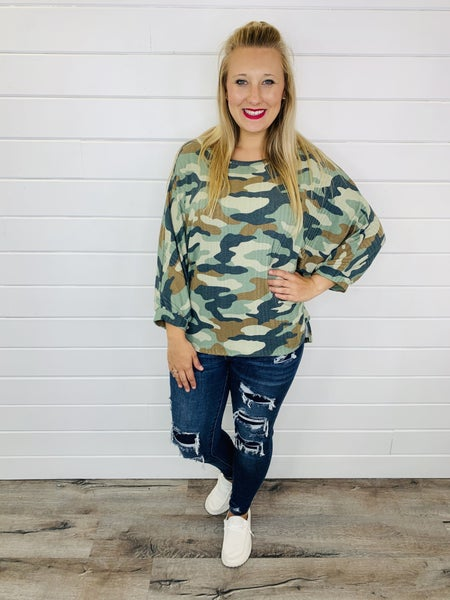 Plus/Reg Not Your General Camo Top