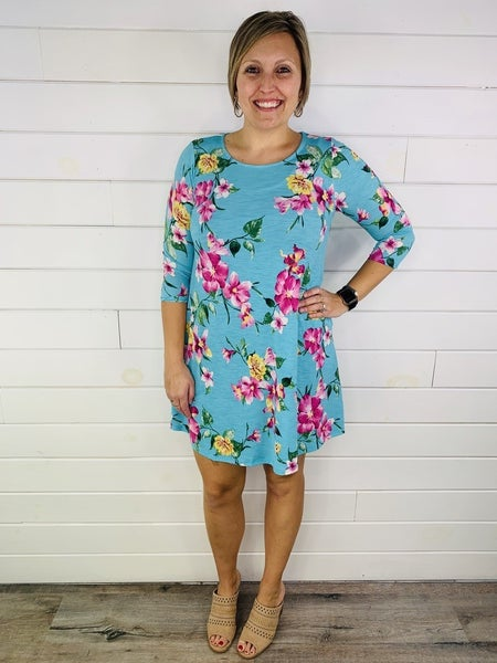PLUS/REG HoneyMe Mint Floral Dress with POCKETS!