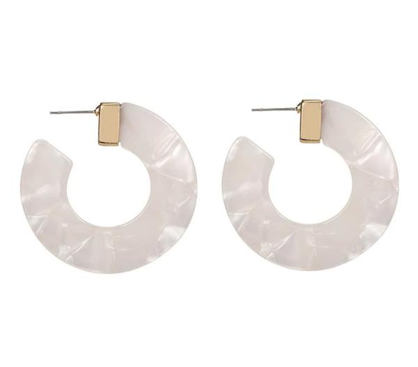 Ivory Acrylic Hoop Earrings