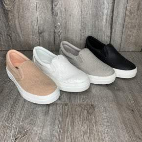 PREAUTHORIZE! Perforated Slip On Sneakers- 4 Colors!