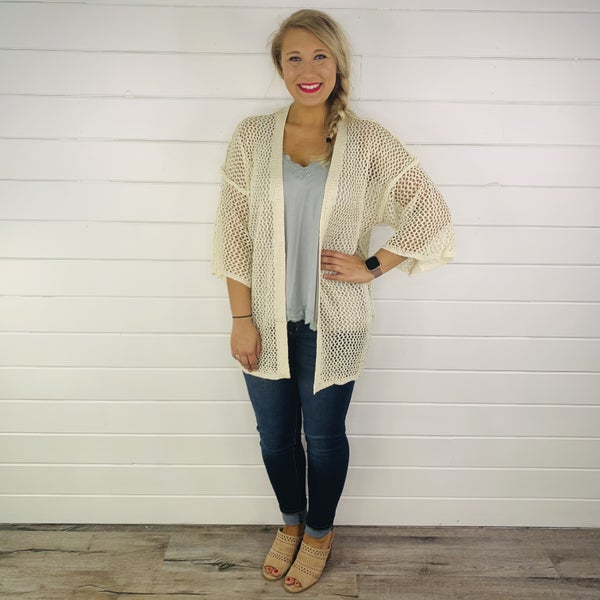 POL DOORBUSTER Open Weave Cardi with Wide Sleeves