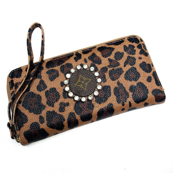 Authentic Upcycled LV Cheetah Wristlet