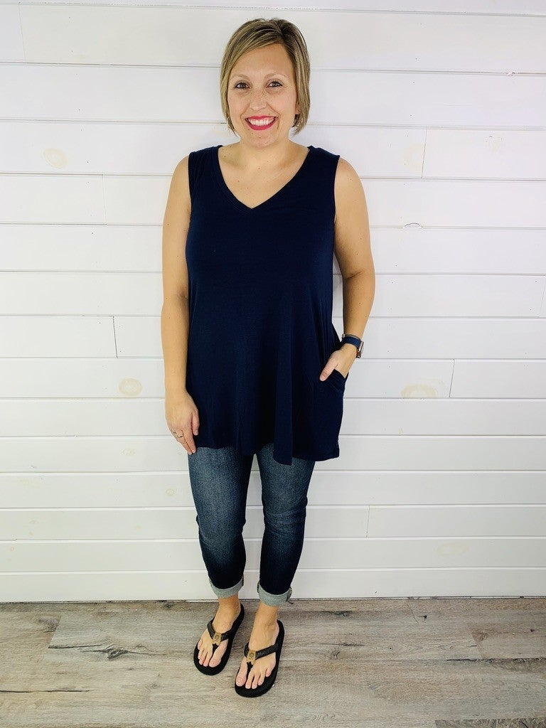 Doorbuster! Plus/Reg Oversized Flowy Sleeveless Top with Pockets - 9 Colors!