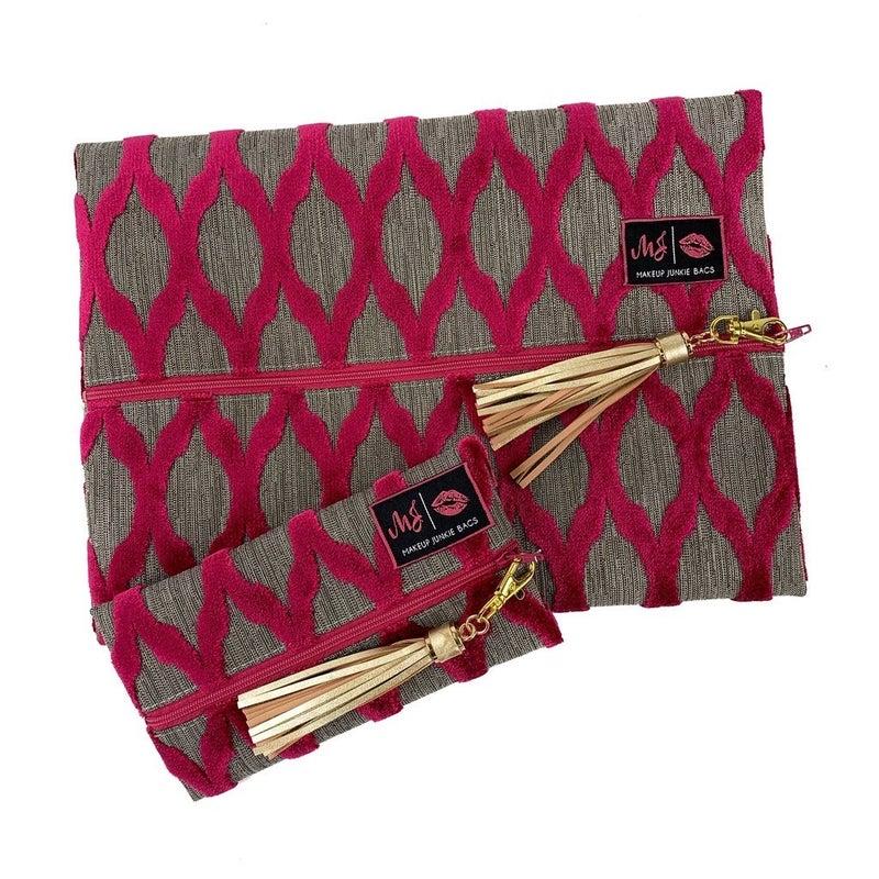 Hot Pink and Grey Makeup Junkie Bag