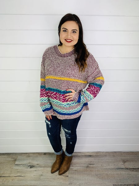 Multicolor Mixed Knit Sweater
