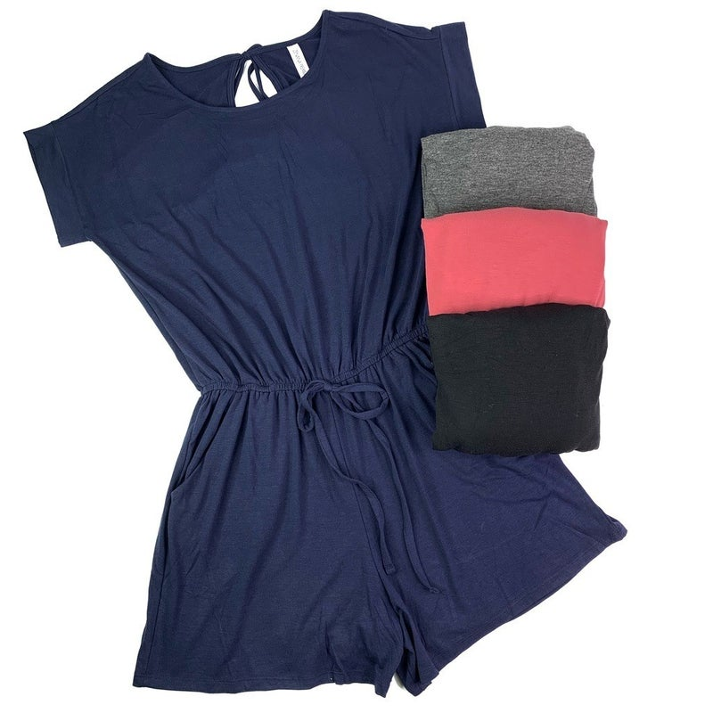 DOORBUSTER PLUS/REG Stretchy Romper with Pockets