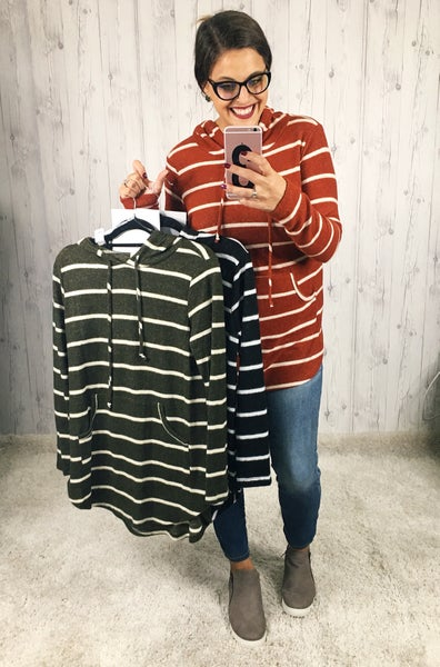 PLUS/REG Striped Super Soft Lightweight Hoodie