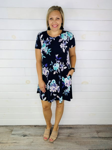PLUS/REG HoneyMe Navy and Teal Floral Dress
