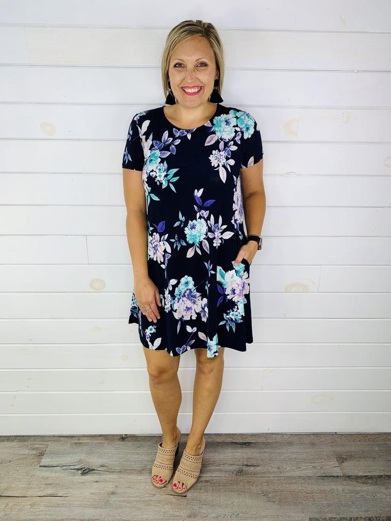 PLUS/REG HoneyMe Navy and Teal Floral Dress