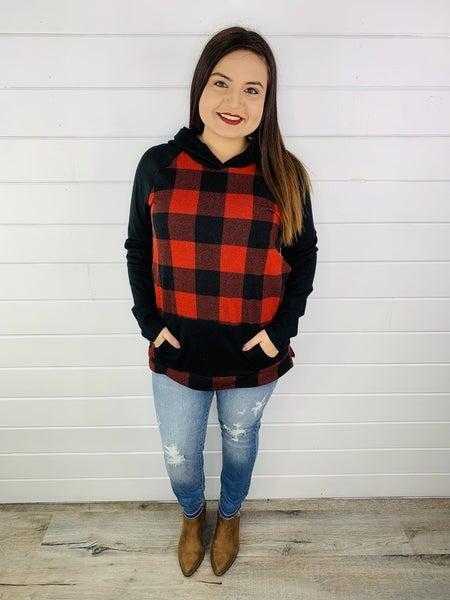 PLUS/REG Honeyme Buffalo Plaid Sweater Hoodie