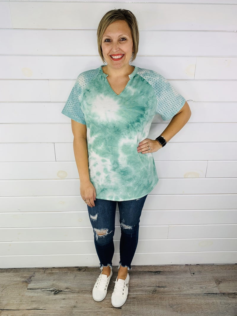 PLUS/REG HoneyMe Tie Dye Flowy Tee with Eyelet Detail--2 Colors!