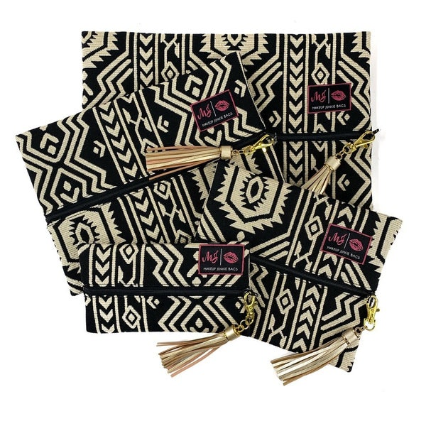 Cream and Black Aztec Makeup Junkie Bag