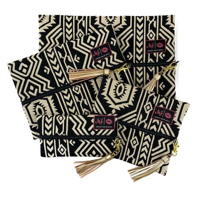 Cream and Black Aztec Makeup Junkie Bag