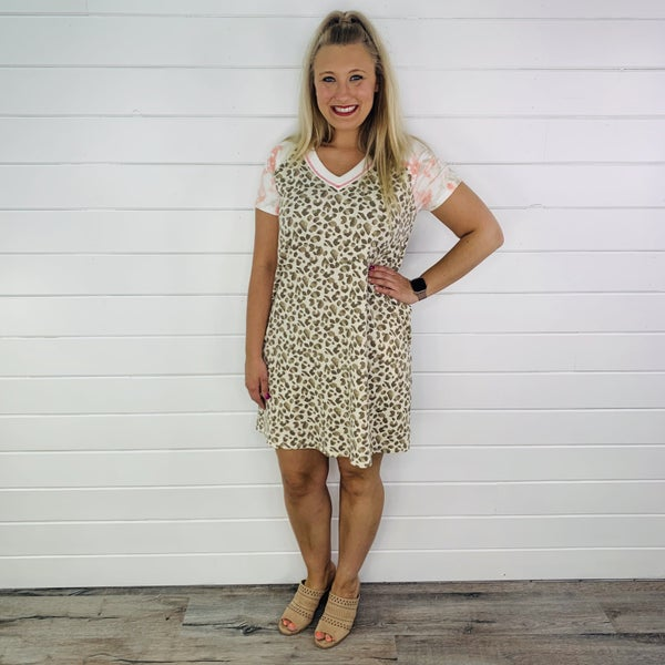PLUS/REG HoneyMe Tan Leopard Dress with Tie Dye Sleeves