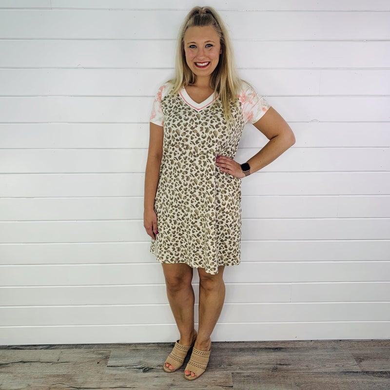 PLUS/REG HoneyMe Tan Leopard Dress with Tie Dye Sleeves