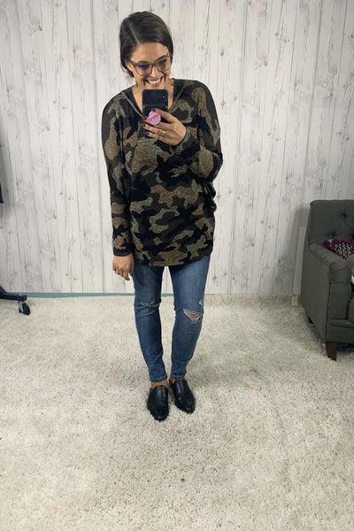 Plus/Reg Lightweight Camo Print Tunic Sweater