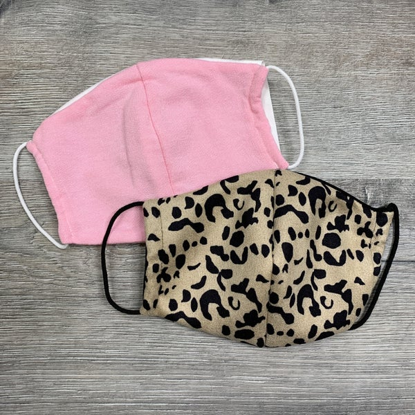 2 Pack! Cheetah and Light Pink Face Covers in Adult and Kids