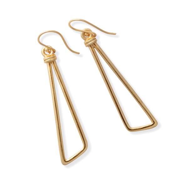 Myra Handcrafted Gold Triangle Earrings