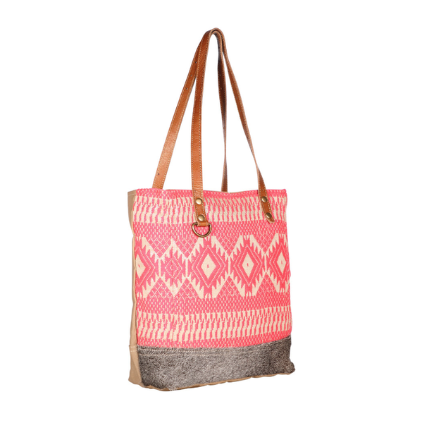Myra Bag- Coral Aztec Tote Bag