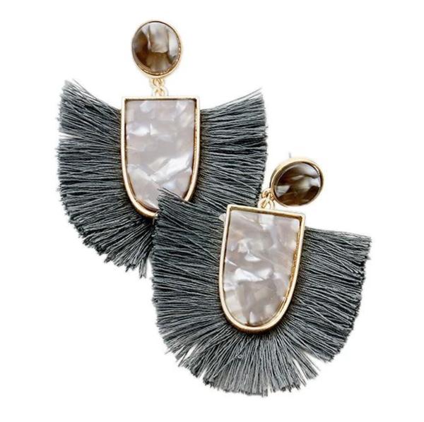 Grey Tassel and Acrylic Earrings