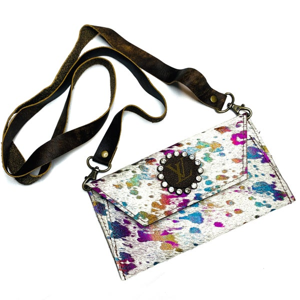Authentic Upcycled LV Rainbow Animal Hyde Crossbody Clutch