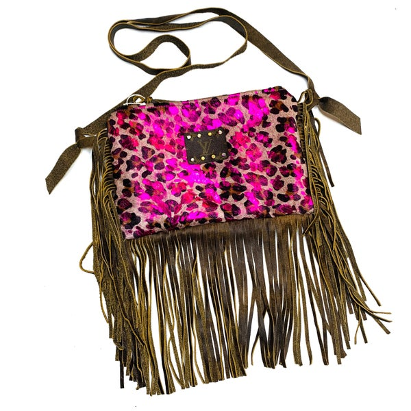 Authentic Upcycled LV Pink Cheetah Crossbody With Fringe