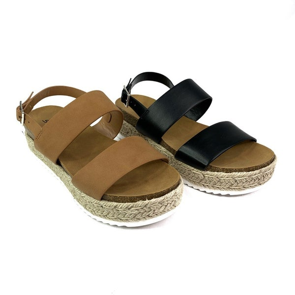 Platform Sandals With Ankle Strap-- Two Colors