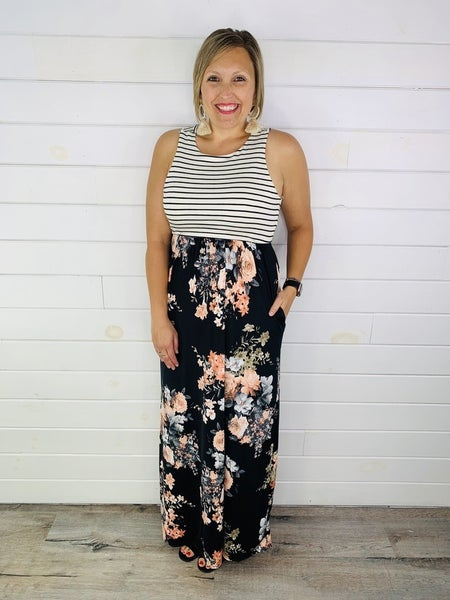 Black Floral and Stripe Sleeveless Maxi Dress