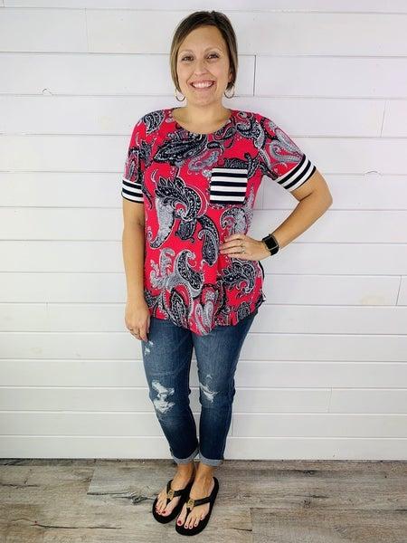 PLUS/REG HoneyMe Pink and Navy Short Sleeve Top