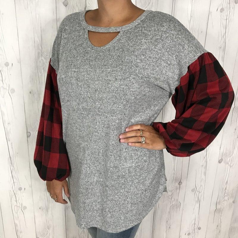 PLUS/REG Honeyme Grey Long Sleeve with Red Plaid Sleeves