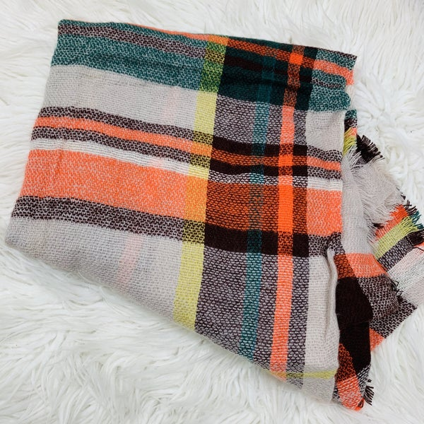 Tan And Orange Plaid Scarf