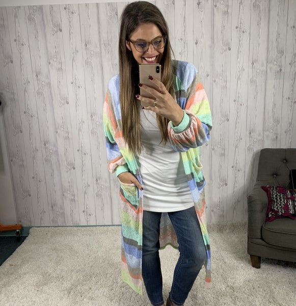 Colorful Striped Open Front Cardigan with Balloon Sleeves