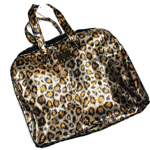 Authentic Upcycled LV Large Cheetah Sequin Handbag