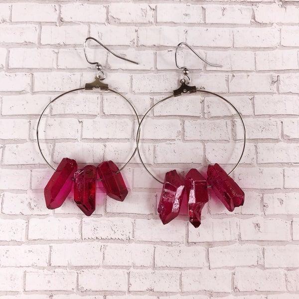 Custom MOCO Dark Pink Crystal Stone Earrings