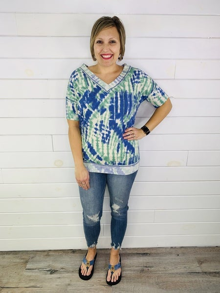 Tie Dye French Terry V Neck Tee--2 Colors!